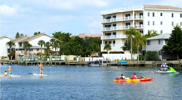 Rent a paddleboard, kayak or jet ski and get up close with the manatees that often play in the bay right in front of our condo