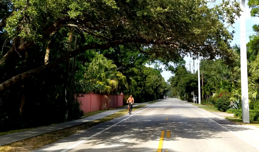 We are on the quiet southern end of Siesta Key. The shaded road to our condo has bike lanes on both sides and sidewalk on one side