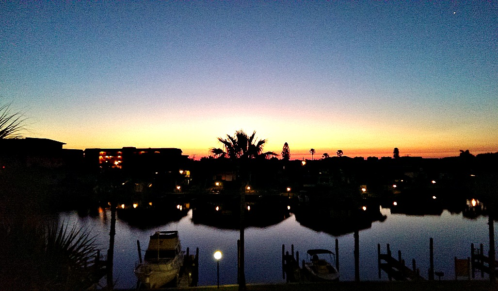 Siesta Key sunrise view from the 3 x 5 foot Guest Bedroom window over the Bay