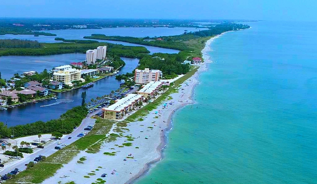 Drone View (condo lower left) of Siesta Key Beach to the South by Sarasota Experience
