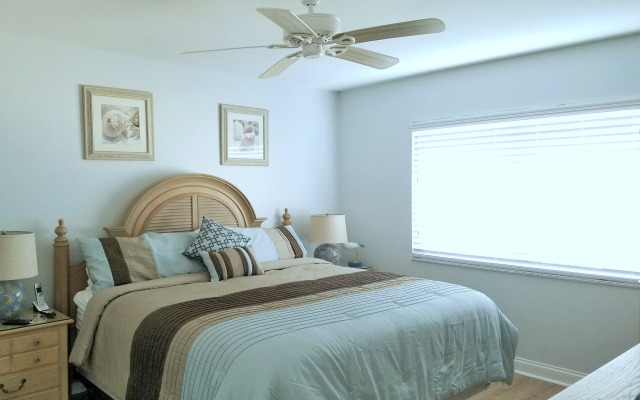 Siesta Key Beachfront Master Suite with 4 x 6 foot sliding window directly overlooking the Gulf of Mexico